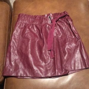 Burgundy leather miniskirt